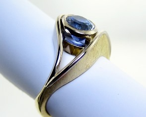 Textured sapphire ring
