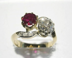 Ruby diamond crossover ring