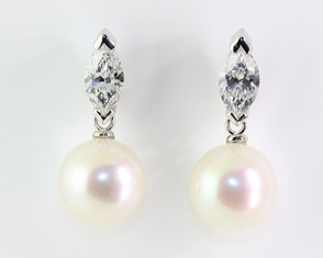 Marquise diamond and pearl earrings