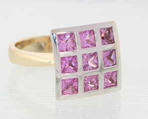 Square pink sapphire dome ring