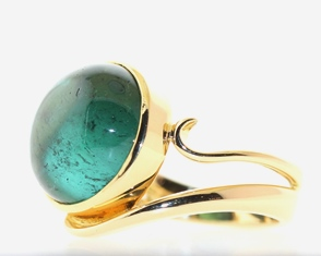Tourmaline in gold ring