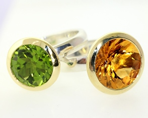 Peridot and citirne rings