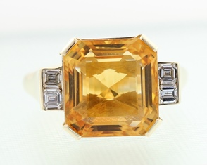 Octagonal citrine and diamond ring