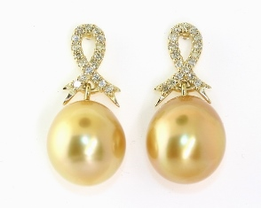 Golden south sea pearl and diamond earrings