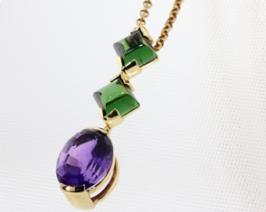 Amethyst And Tourmaline Pendant