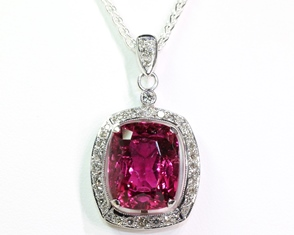 Pink Tourmaline Cluster Pendant