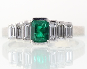 Emerald and diamond cut ring