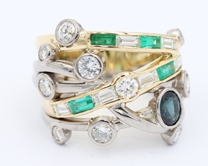 Emerald diamond and sapphire ring