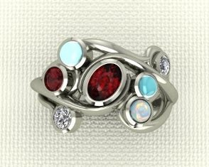 Garnet and opal ring