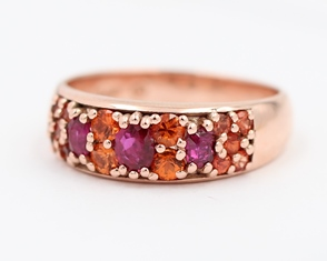 Ruby, Orange And Sapphire Ring